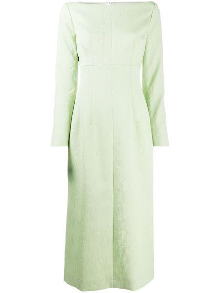 Хлопковое зеленое приталенное платье макси с длинными рукавами Emilia Wickstead