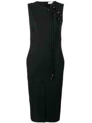 Czarna sukienka midi koronkowa bez rękawów Redvalentino