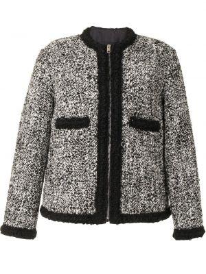 Шерстяной черный удлиненный пиджак с вырезом Giambattista Valli
