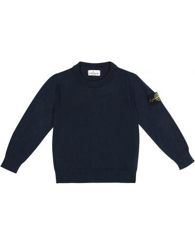 Хлопковый свитер - синий Stone Island Junior
