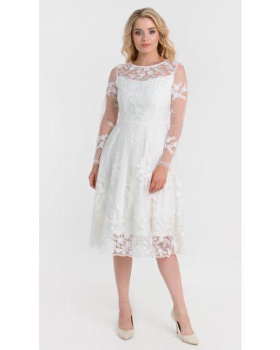 Приталенное кружевное вечернее платье с вырезом Filigrana