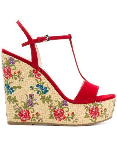 Сандалии на танкетке на шнуровке с цветочным принтом Prada