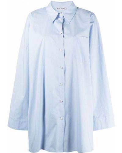 Синяя классическая рубашка оверсайз с воротником Acne Studios