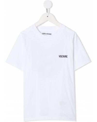 Белая хлопковая футболка с круглым вырезом круглая Zadig & Voltaire Kids