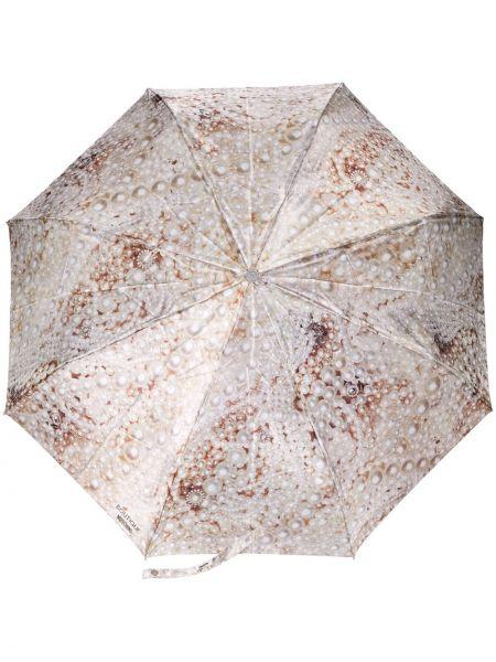 Parasol z nadrukiem beżowy Moschino