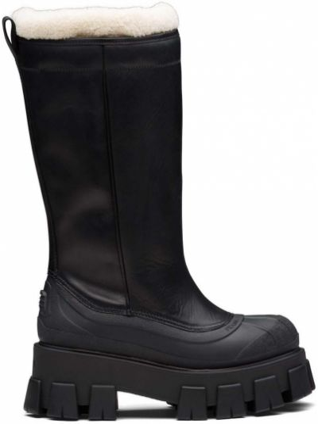 Skórzany czarny buty na pięcie na pięcie okrągły nos Prada