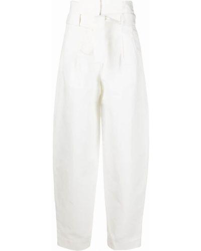 Хлопковые белые брюки с накладными карманами Wandering