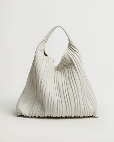 Biała torebka duża bawełniana Mango