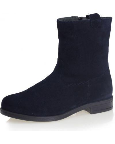 Синие полусапожки на каблуке без застежки Respect