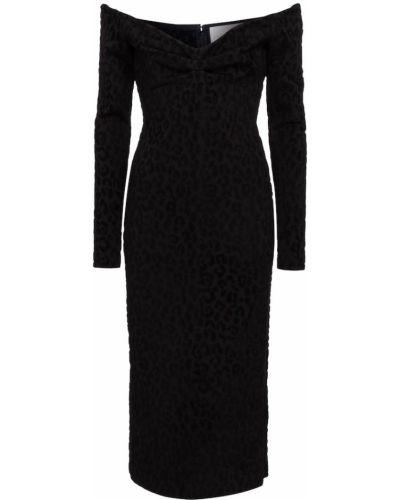 Черное платье миди из вискозы Carolina Herrera