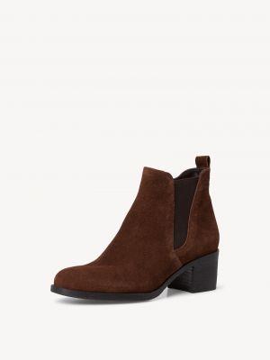 Коричневые кожаные ботинки челси Tamaris