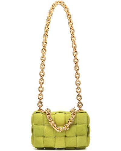 Золотистая зеленая сумка на цепочке из натуральной кожи Bottega Veneta