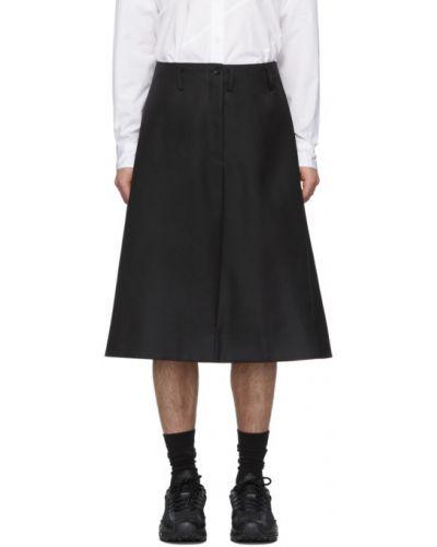 Wełniany czarny spódniczki-szorty z kieszeniami Comme Des Garcons Homme Plus