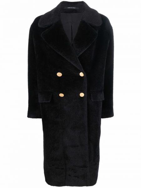 Черное шерстяное пальто Tagliatore