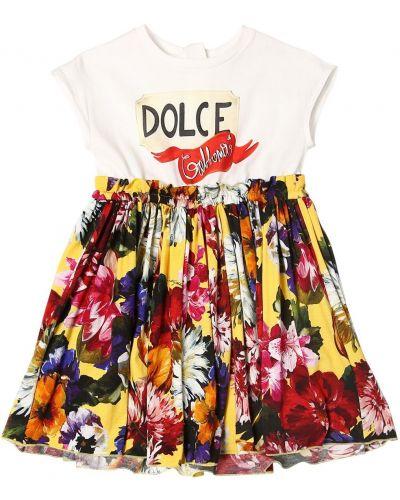 Платье с рукавами короткое с принтом Dolce & Gabbana