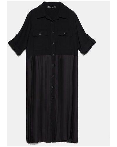 Платье рубашка - черное Zara