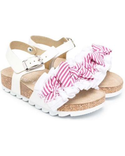 Белые кожаные сандалии с пряжкой Monnalisa