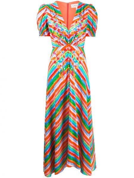 Платье миди в полоску с завышенной талией Saloni