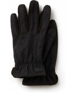 Кожаные перчатки шерстяные черные Lacoste