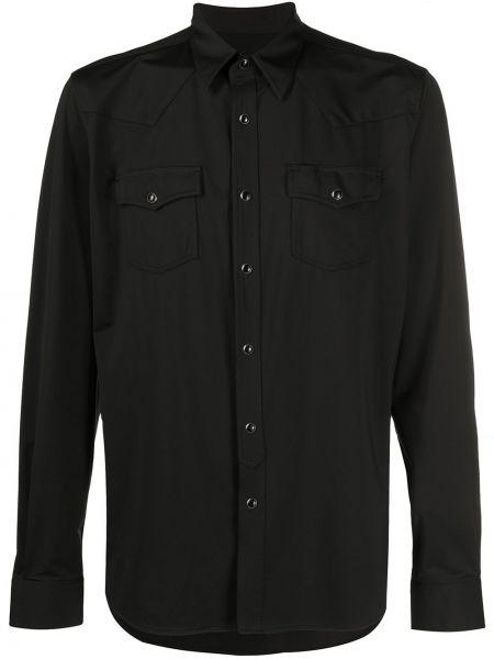 Czarna koszula z długimi rękawami zapinane na guziki Hydrogen