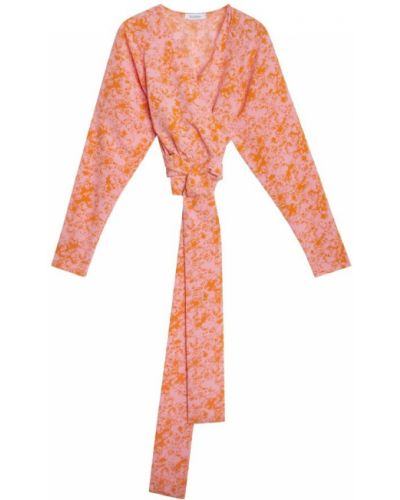 Różowa koszulka z długimi rękawami Rodebjer