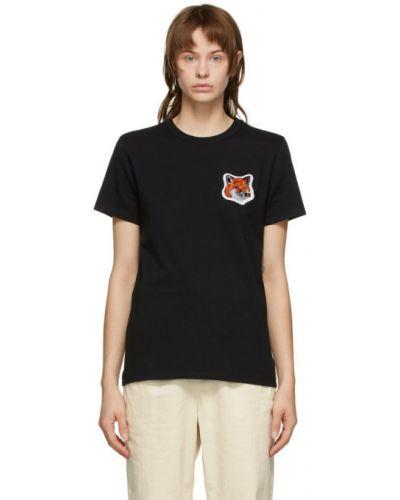 Бархатная черная рубашка с воротником с заплатками Maison Kitsuné