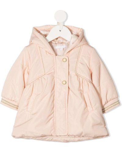 Klasyczny różowy płaszcz z kapturem Chloé Kids
