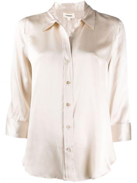С рукавами шелковая классическая рубашка с воротником на пуговицах L'agence