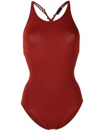 Пляжный красный слитный купальник с вырезом Eres