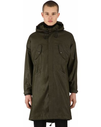 Zielony płaszcz wełniany z kapturem Raglan United