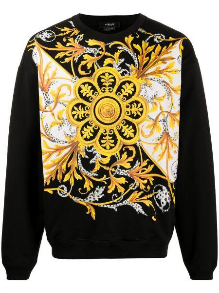 Bawełna bawełna z rękawami czarny bluza Versace