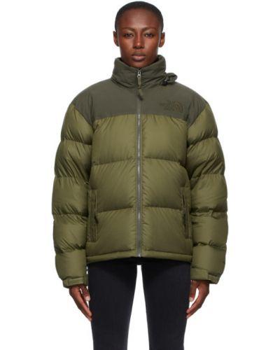 Пуховая зеленая длинная куртка с вышивкой The North Face