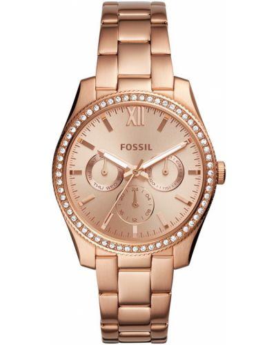 Кварцевые часы водонепроницаемые с круглым циферблатом Fossil