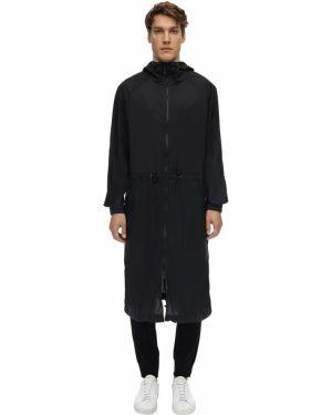 Czarny płaszcz z kapturem Falke