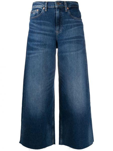Хлопковые синие укороченные джинсы стрейч свободного кроя Tommy Jeans