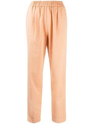 Оранжевые хлопковые укороченные брюки эластичные Forte Forte