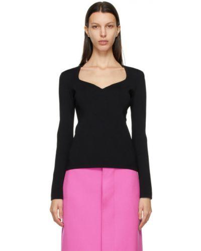 Z rękawami czarny długi sweter z dekoltem Balenciaga