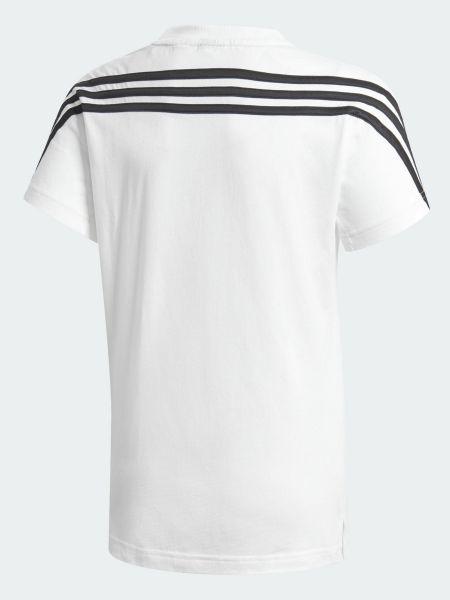 Белая спортивная футболка с вырезом в полоску Adidas