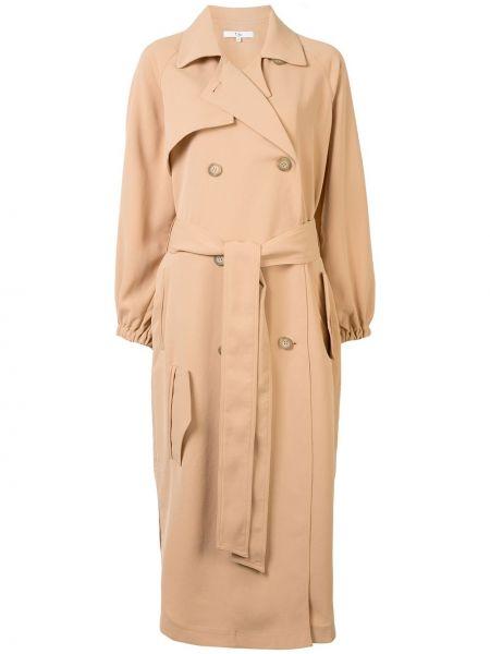 Коричневое пальто с воротником с поясом двубортное Tibi