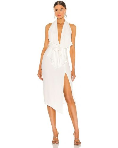Деловое бежевое платье с драпировкой Misha Collection