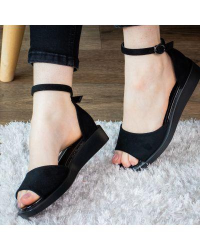 Замшевые черные босоножки на платформе Fashion