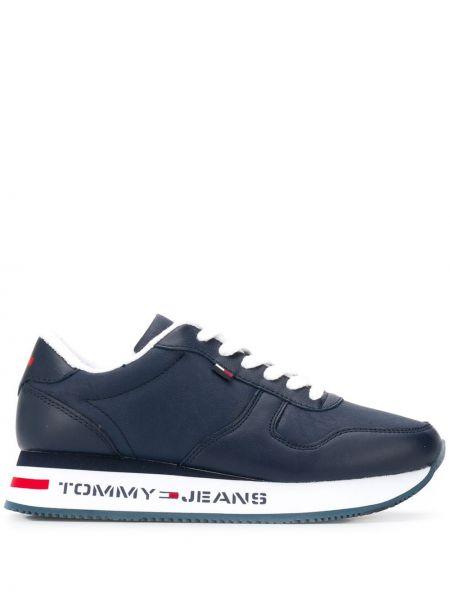 Кожаный темно-синий кружевная топ на шнуровке Tommy Jeans
