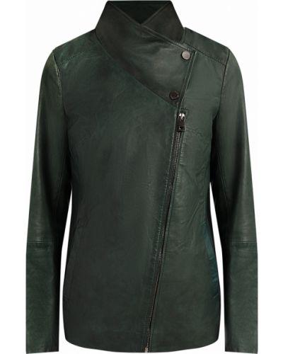 Кожаная куртка зеленая с подкладкой Finn Flare