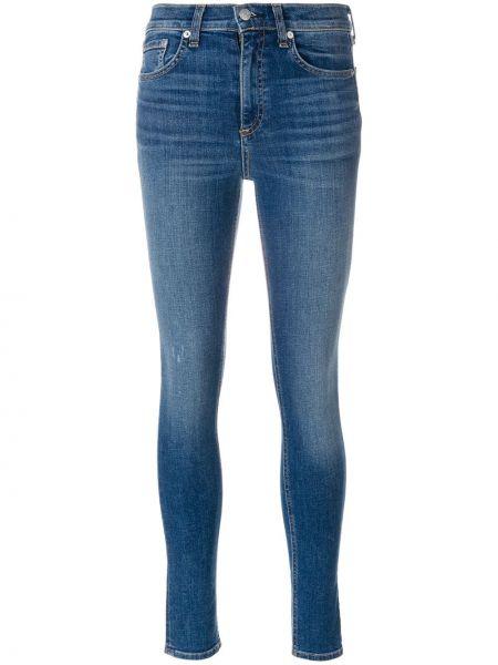 Зауженные джинсы с завышенной талией - синие Rag & Bone/jean