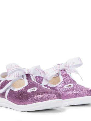 Текстильные фиолетовые туфли с глиттером Monnalisa