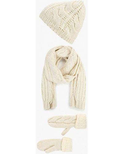Бежевые перчатки текстильные Vitacci
