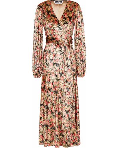 Beżowa sukienka midi kopertowa z aksamitu Rotate Birger Christensen