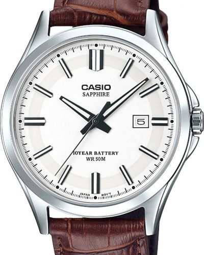 Часы водонепроницаемые с подсветкой с кожаным ремешком Casio