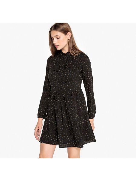 Черное расклешенное платье мини с воротником из вискозы Sud Express
