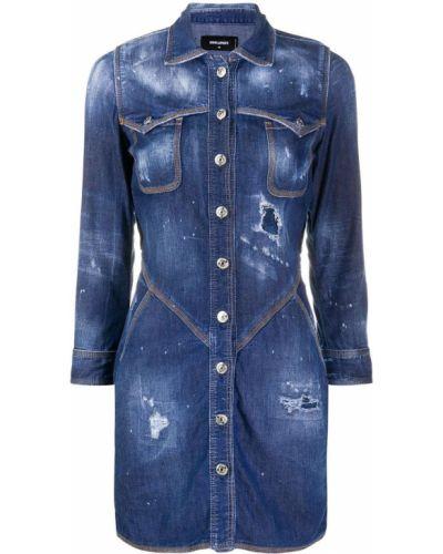 Синее джинсовое платье с воротником на пуговицах Dsquared2